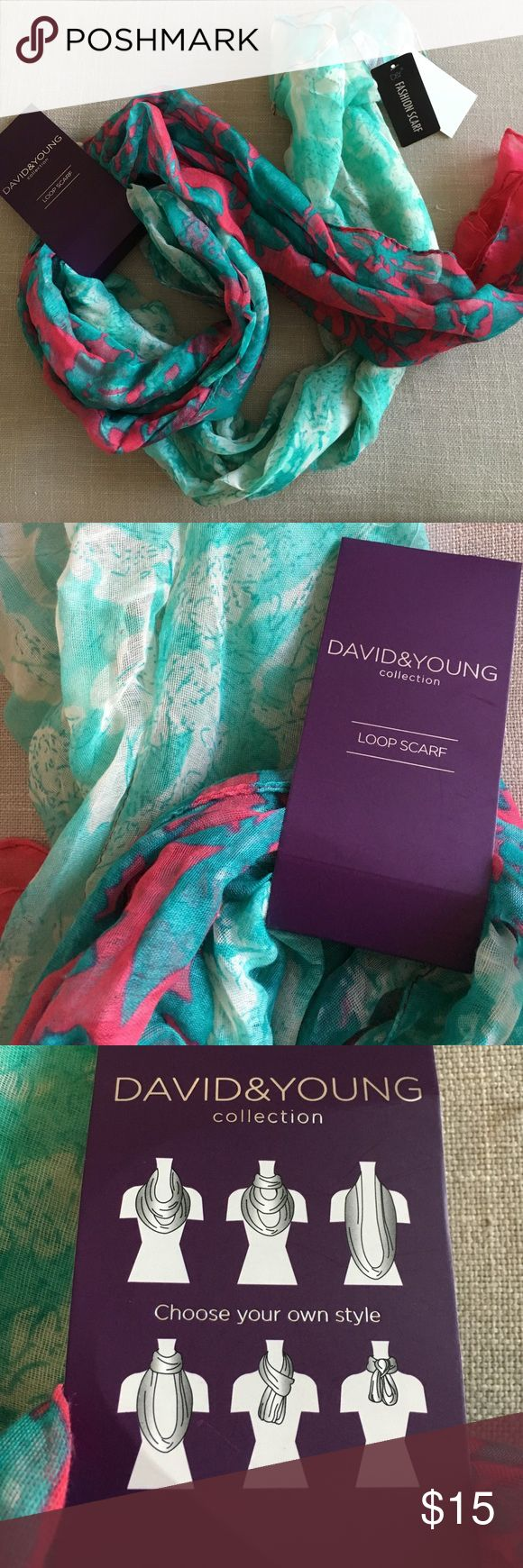 David & Young Collection Loop Scarf This David & Young Collection Loop Scarf is a pretty floral patterned pink and green mix. New scarf, never worn. I bought this to give a friend as a Mother's Day gift and forgot to add it to her bag and it's too pricey to ship to London now so looking for a good home for it! Smoke free home. David & Young Accessories Scarves & Wraps