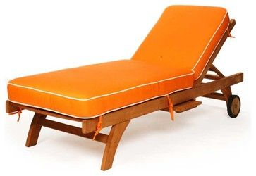 Caluco Teak Single Chaise - rustic - Outdoor Chaise Lounges - New York - HOMELEMENT