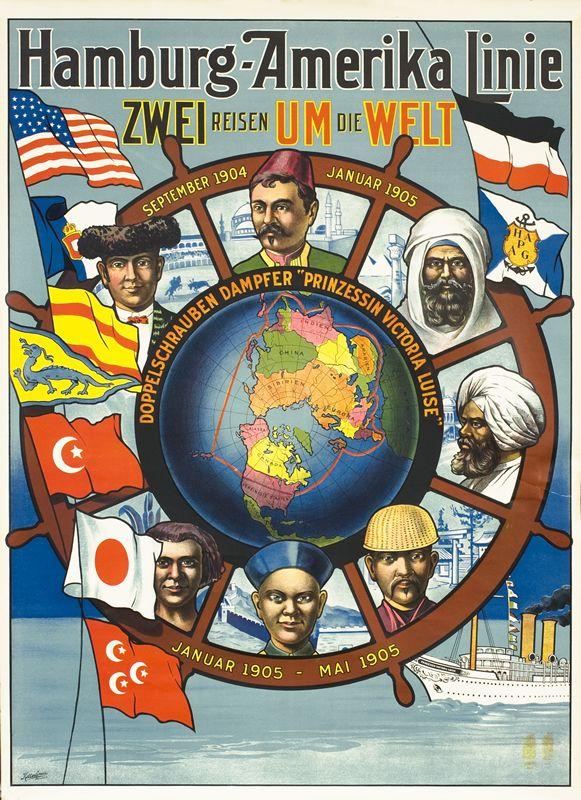 Hamburg-Amerika Linie - Zwei Reisen um die Welt by Artist Unknown | Vintage Posters at International Poster Gallery  ~Repinned Via Ole larsen