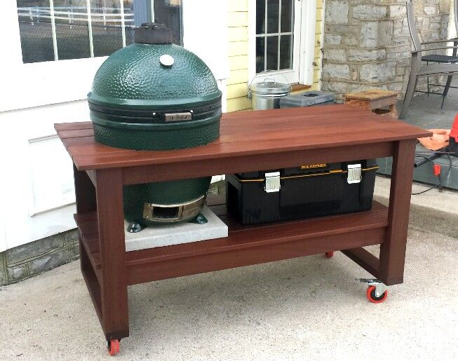 My Newly Finished Big Green Egg Table That I Built Over Christmas Break Is  Made Completely Out Of Ipe. | Big Green Egg Stuff | Pinterest | Big Green  Egg ...