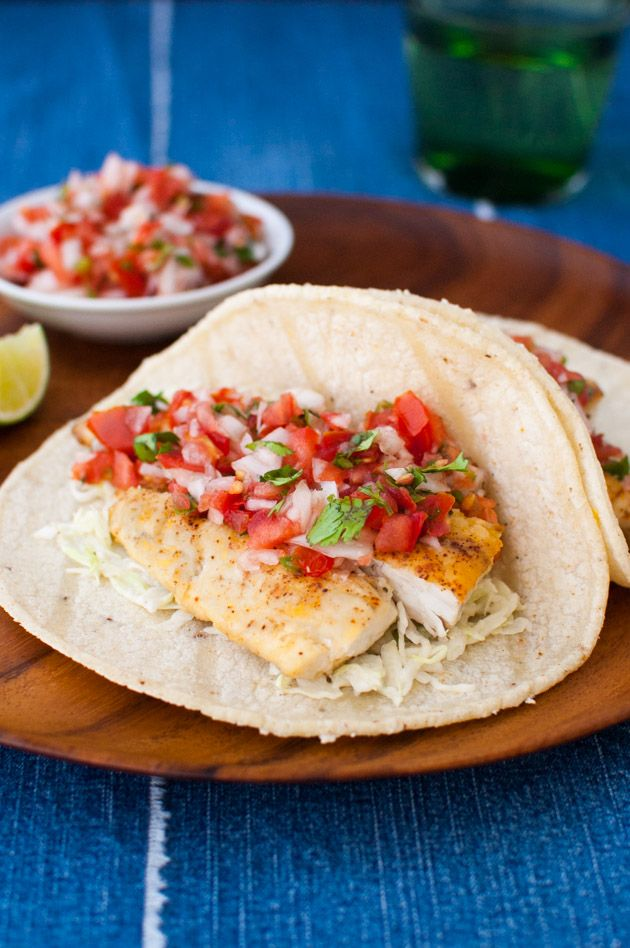 Easy Fish Tacos by tamingofthespoon: In this simplified version, the fish is seasoned, coated in flour and then pan fried. It is much easier than deep frying and still flavorful.
