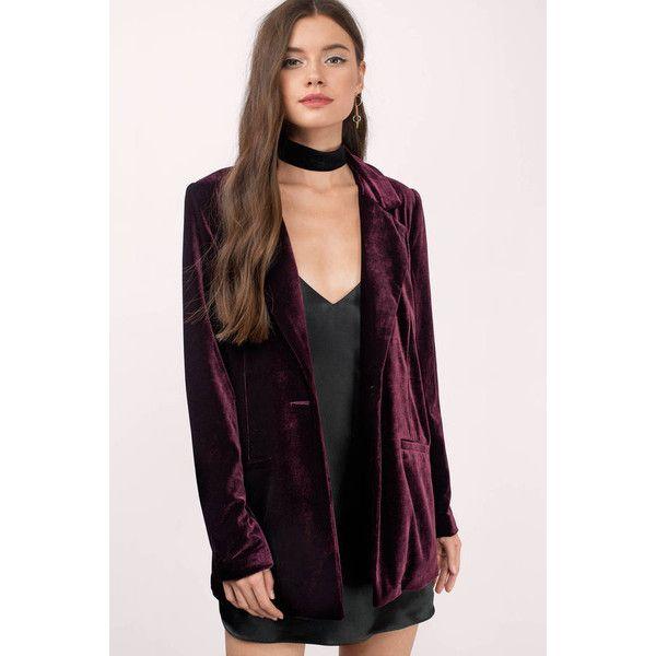 Tobi Ivy Velvet Boyfriend Blazer ($45) ❤ liked on Polyvore featuring outerwear, jackets, blazers, wine, blazer jacket, purple velvet blazer, boyfriend jacket, boyfriend blazer and purple blazer