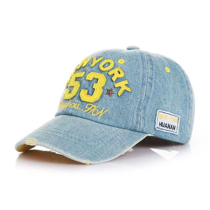 Brand New High Quality Kids Baseball Caps Baby Has & Caps Fashion Letter Jean Denim Cap Baby Boys Girls Sun Caps for 2-7Y