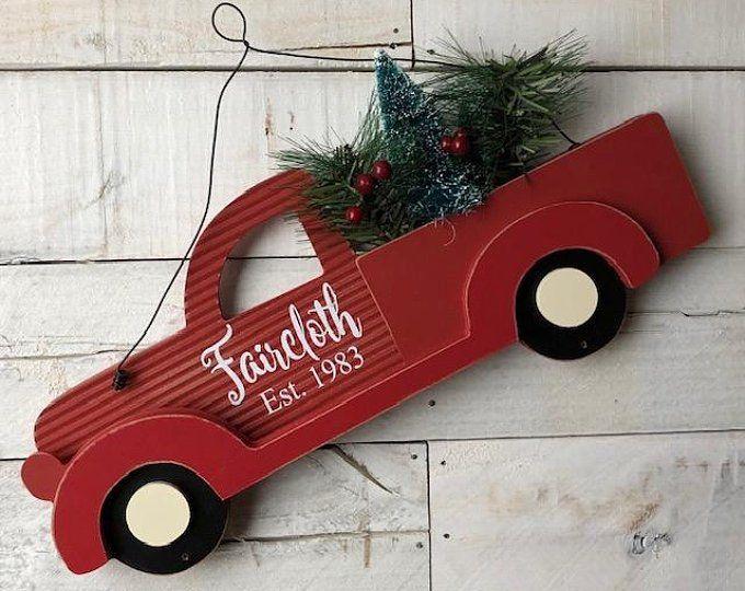 Farmhouse Red Truck Signred Truck Decor Little Red Truck Etsy Christmas Signs Wood Christmas Red Truck Red Truck Decor
