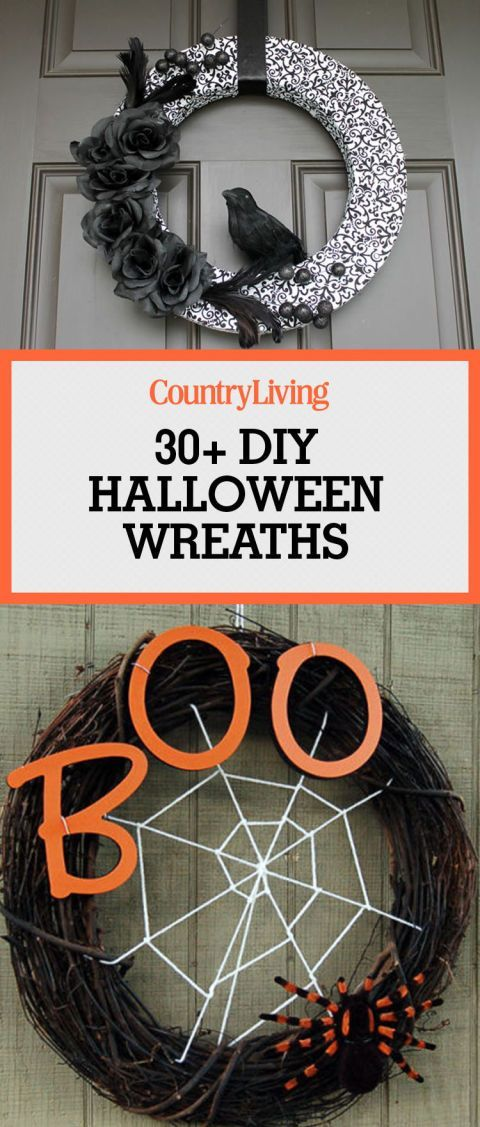 Save these DIY halloween wreath ideas for later by pinning this image and follow Country Living on Pinterest for more.