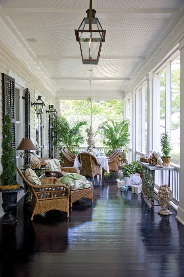 Love this porch, ceiling , floor and decor