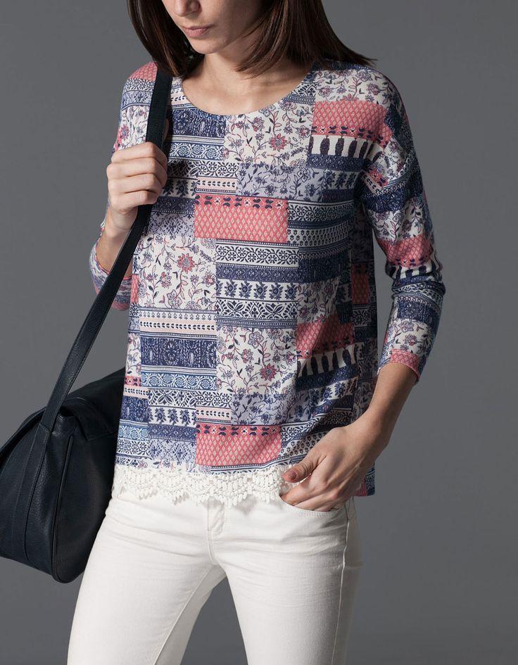 Koszulka z szydełkową wstawką u dołu - 79,90pln