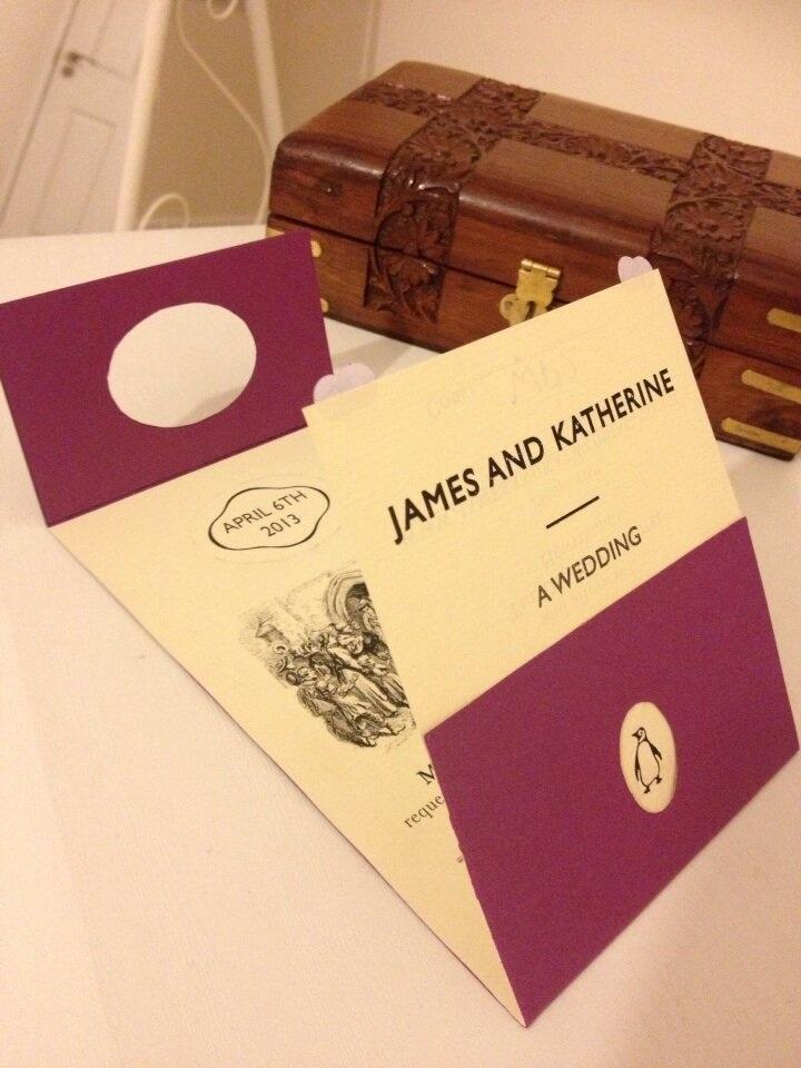 mini book wedding invitations uk%0A Penguin inspired wedding card