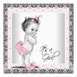 Pink and Gray Vintage Baby Shower Card