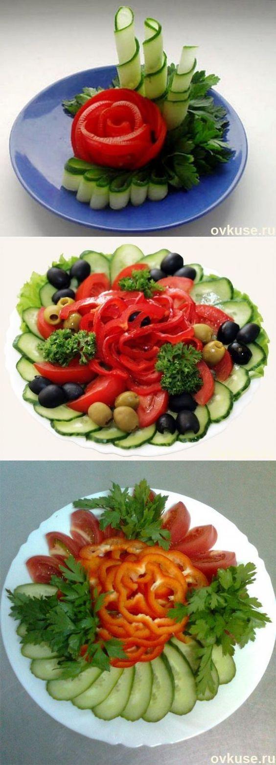 Как красиво украсить блюда,и украшения из фруктов,овощей,кобасных закусок и соленой рыбы.:
