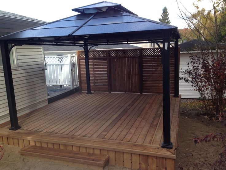 Beautiful Deck With Privacy Fence And Aluminum Gazebo Our Work Pinterest Privacy Fences