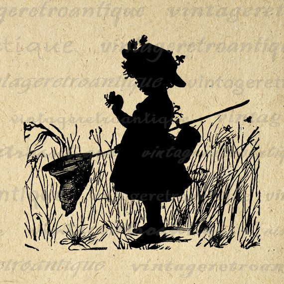 Girl with Butterfly Net Digital Graphic Image Child Silhouette