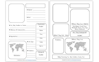 Printable Animal Notebooking Pages - different versions for older and younger kids.
