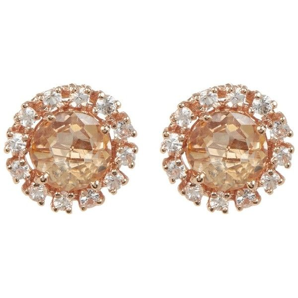 Suzanne Kalan 14K Rose Gold Circle Topaz & Sapphire Stud Earrings ($400) ❤ liked on Polyvore featuring jewelry, earrings, rose gold, 14 karat gold earrings, rose gold post earrings, 14 karat gold stud earrings, pink gold earrings and stud earrings