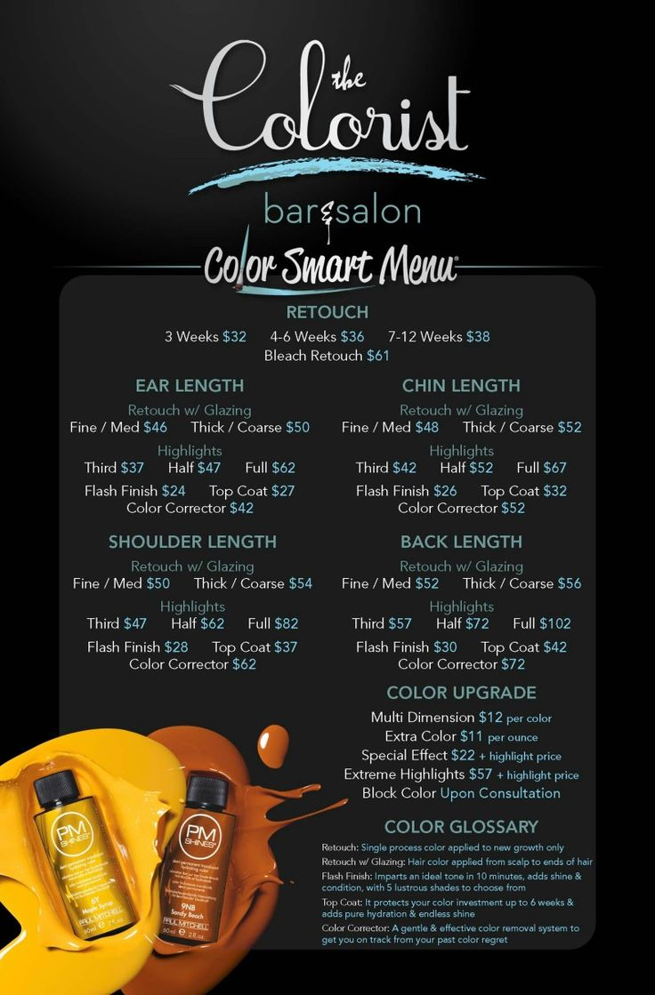 The Colorist Bar and Salon Hair Service Menu