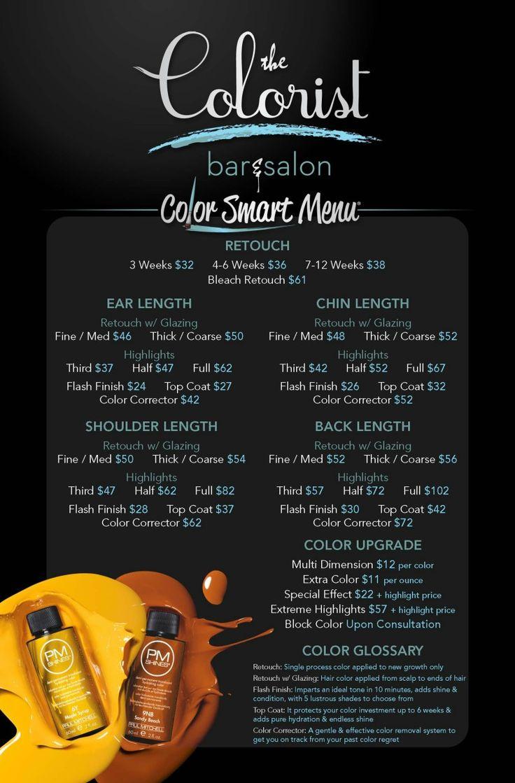 The Colorist Bar and Salon Hair Service Menu