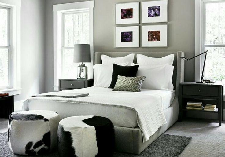 Grey walls white trim black furniture grey walls - Black and grey bedroom furniture ...