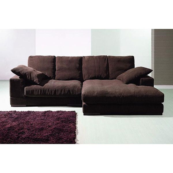 Dark Brown Ribbed Microfiber Sectional By Baxton Studio