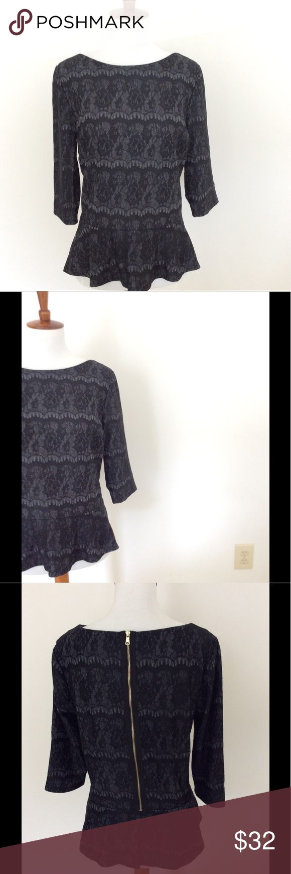 Ann Taylor Long Sleeve Knit Top With Lace Overlay This long sleeve, knit peplum top with lace overlay and exposed zipper by Ann Taylor pairs well with skirts, jeans, and dress slacks. This versatile top is appropriate for work days and weekends. Great condition. Medium petite. Ann Taylor Tops
