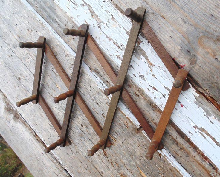 Vintage Wooden Accordion Wall Peg Rack Wooden Coat Hooks