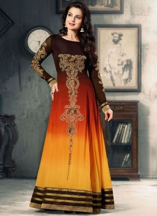 Amisha Patel Brown And Yellow Fancy Anarkali Suit