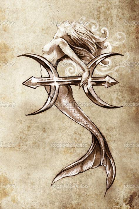 Baixar - Tatuagem arte, esboço de uma sereia, estilo vintage de peixes — Imagem de Stock #9942576