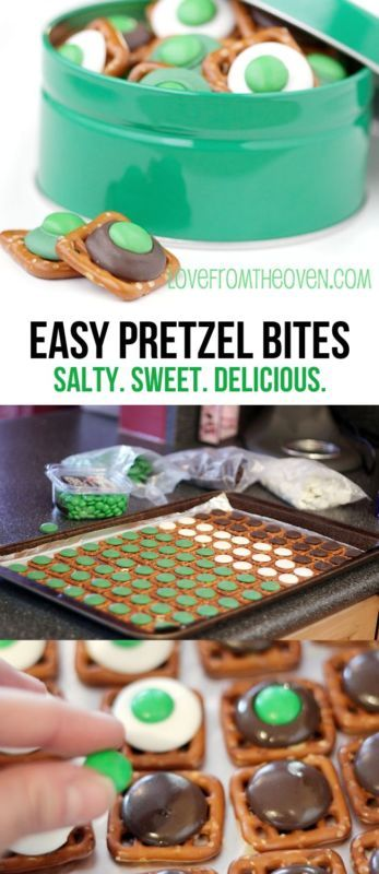 These easy pretzel bites are super cute for St. Patrick's Day or to use as Green Eggs and Ham a la Dr. Seuss! Love it, and they taste amazing, salty sweet!