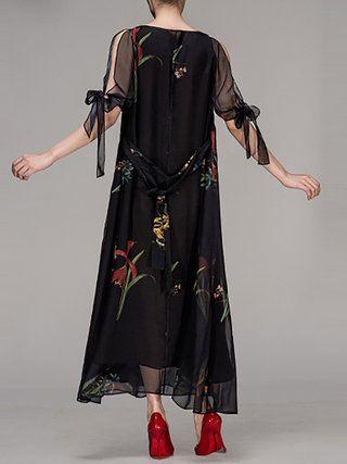 Black Crew Neck Floral Elegant Maxi Dress