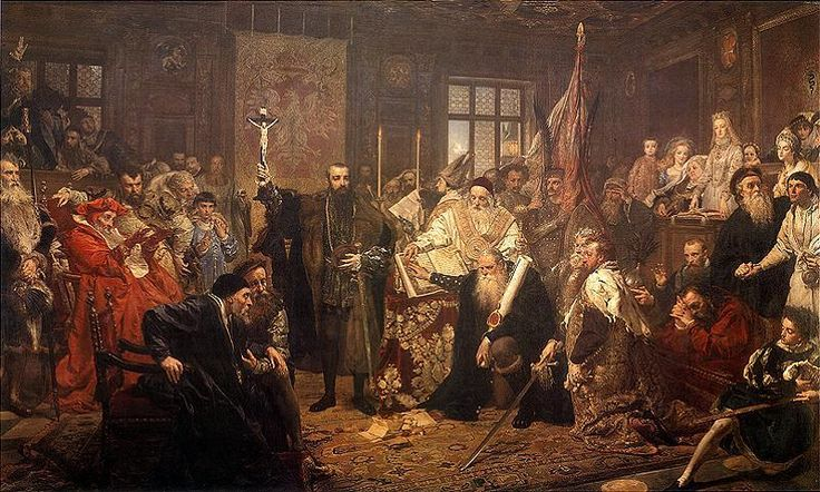 The Union of Lublin by Jan Matejko,1869,    Painted in 300-th anniversary of the Union of Lublin between Kingdom of Poland and the Grand Duchy of Lithuania. Deposit of the National Museum in Warsaw.