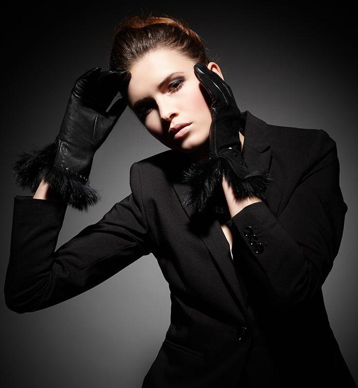 Black nappa/suede combination with Swarovski crystals, black pyramid studs,  black rabbit fur