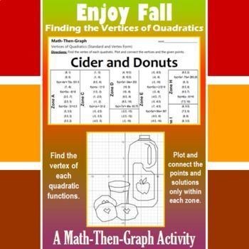 Enjoy the Fall season and give students the practice they need at finding the vertices of quadratic functions. Students are given a list of coordinate points to plot. Some of the points are disguised as quadratic functions. The students need to find the vertex of each quadratic function (standard and vertex form).