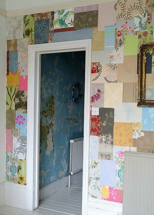 Love the idea of random pieces scrapbook paper to make a collage...maybe in a bathroom or kids play room...you could pick a theme and find a scrapbooking collection to fit the theme.