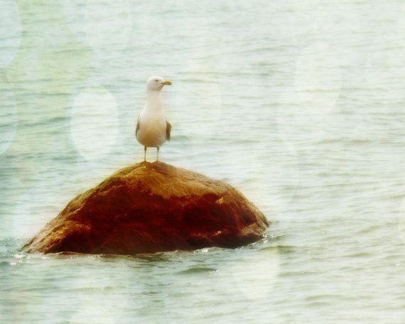 Möwe-Kunstdruck - weiche Bokeh Neutral verträumt Pastell Strand Haus Wand Kunst Home Decor Wasser Meer Bird Photography