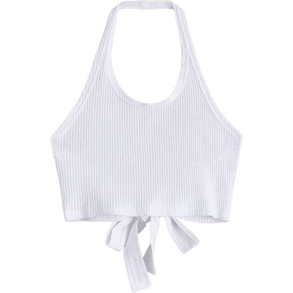 Halter Criss Cross Ribbed Crop Top ($12) ❤ liked on Polyvore featuring tops, halter-neck tops, white crop top, cropped tops, white ribbed top and white top