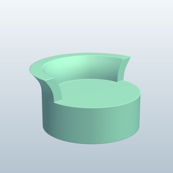 Cylinder Lounger 3D Model Made with 123D MeshMixer