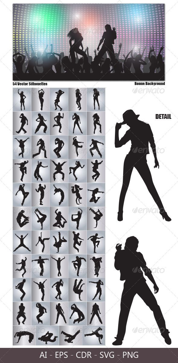 Dancing Silhouettes  #GraphicRiver         This is nice vector silhouettes. In this files include AI and EPS versions. You can open it with Adobe Illustrator CS