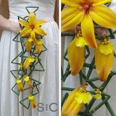 Sunny lily and snakegrass contemporary bouquet