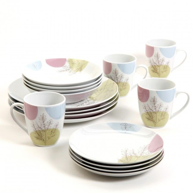 Gibson Home Savannah Meadow 16-Piece Dinnerware Set, White