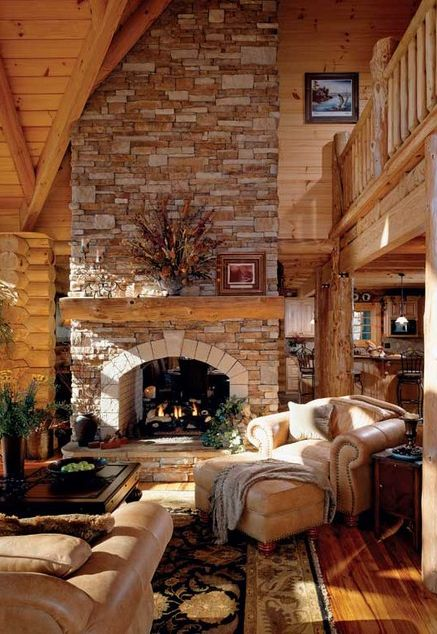 Rustic Elegant And Warm Log Homes Log Cabins And