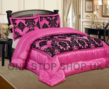 Luxurious 3 Pcs Flock Quilted Bedspread / Comforter Set - FUCHSIA WITH BLACK - RV