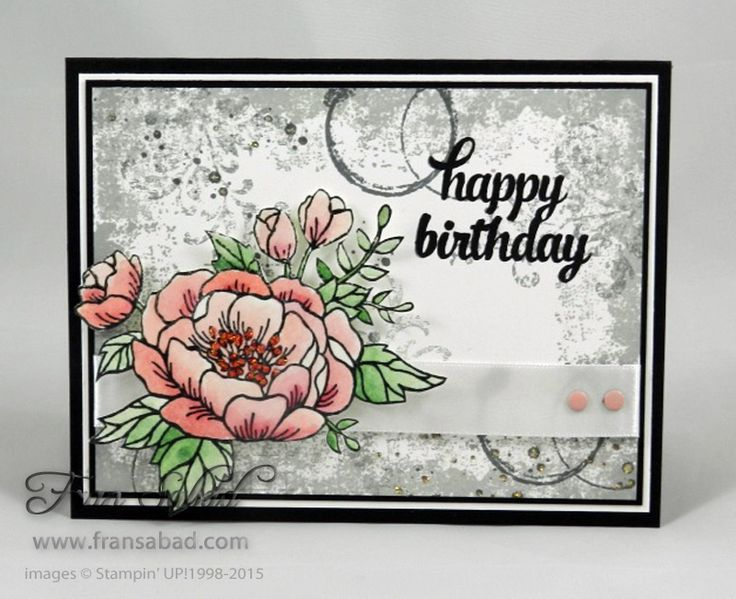Birthday Blooms and Timeless Textures – both in the upcoming mini catalog – are so pretty together! I used Smokey Slate, Basic Gray and Archival Black to create the background. The fl…