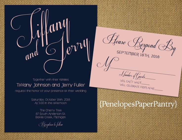 navy and blush wedding by penelopespaperpantry on etsy - Navy And Blush Wedding Invitations