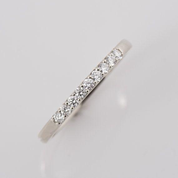 9-Diamant-Ring 14K Weißgold Diamanten Band 2 mm von NirOliva