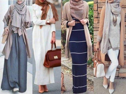 neutral hijab looks- Stylish hijabi street styles http://www.justtrendygirls.com/stylish-hijabi-street-styles/