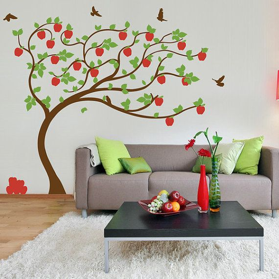 Apple Tree vinyl Wall Sticker. Tree with apples leaning in the wind with birds |  210 x 190cm / 82 x 75 inches on Etsy, $63.99