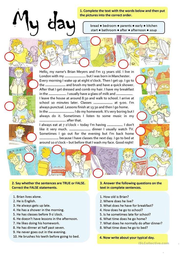 MY DAY worksheet - Free ESL printable worksheets made by teachers