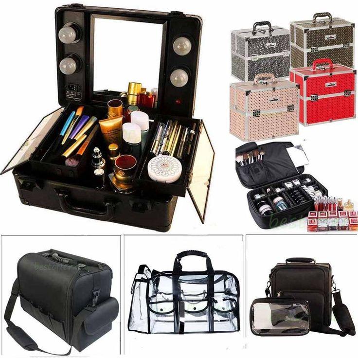 Portable Light Makeup Station Aluminum Train Case Jewelry Box Cosmetic Organizer