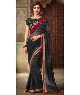 Elegant Black And Red Georgette Saree.