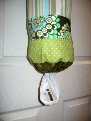 diy grocery bag holder tutorial. I have made several of these for swaps and still don't have one of my own. Bee fabric would be great. It doesn't have to be though because this would live in a closet.