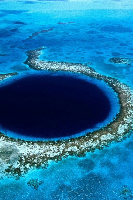 The Great Blue Hole - Belize- amazing cave diving here - YES PLEASE ! But I gotta go with someone who loves to dive ....